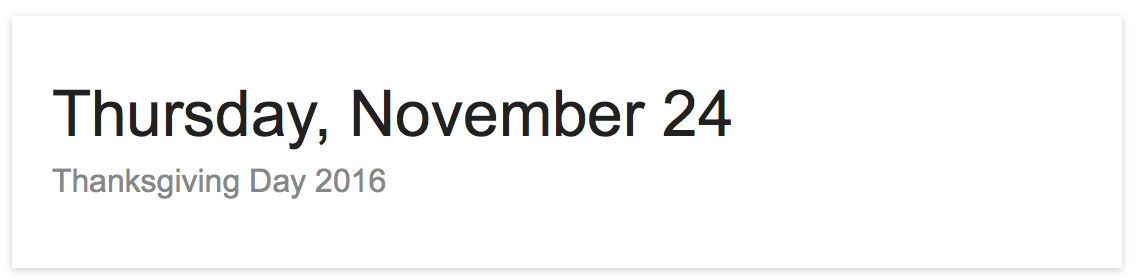 What date is thanksgiving 2016